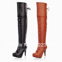 Wholesale Fashion Womens Thigh Over Knee High Winter Boots Platform Big sizes lace up Half Zipper Ladies Shoes Cheap