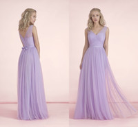 Wholesale Long Bridesmaid Dresses New Cheap V Neck Sheer Tulle With Sashes bridesmaids Dress Floor Length Lilac For Wedding Formal Prom Gowns