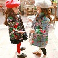 Wholesale Girls Down Coat New Autumn Winter Fashion Korean Lace Floral Cotton Padded Clothes Children Christmas Princess Coat MC