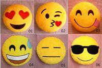 Wholesale Cushion Cute Lovely Emoji Styles Diameter cm Smiley Pillows Cartoon Cushion Pillows Yellow Round Pillow bolster Stuffed Plush Toy pc