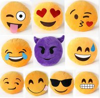 Wholesale Soft Emoji Smiley Emoticon Pillow Massager Yellow Round Cushion Pillow Stuffed Plush Toy Doll Travel Pillow CM