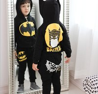 Wholesale Children Cartoon Batman Casual Sets Boy Hooded Outfits Boy Hoodies Pants Kids Cotton Clothing Outfits Set G18D57