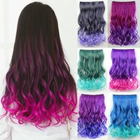 Wholesale Hairpieces Color Gradient Woman s Hair Net One Piece For Full Head Long Wavy Colorful Popular Colored Hair Products Hairpieces