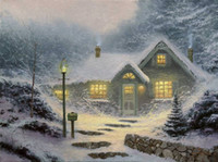 Wholesale Pinturas Thomas Kinkade Neuschwanstein Snow Scenery Art Umbrella Modern Bedroom Decor Paintings For Living Room Decorative