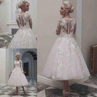 short wedding dresses - 2015 Spring Vintage Tea Length Sheer Wedding Dresses Long Sleeves Lace Sheer V Neck Tulle Wedding Dresses Custom Made Short Bridal Gowns