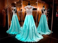 Cheap Keyhole Back Aqua Prom Dresses 2016 High Neck with Appliques A Line Beads Fashion Evening Party Wear BO9856 Long Chiffon Celebrity Dresses