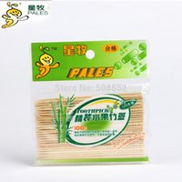 Wholesale Toothpick Disposable natural double head bamboo wood toothpick fruit fork party kitchen High Quality toothpicks Hot sale
