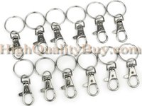 Cheap 12 x Lobster Silver Metal Swivel Lobster Clasps Clips Hooks For Keychains Split Ring New