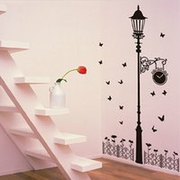 iron fence - JM7177 New removable vinyl wall stickers Street lamps and Iron fence diy home decor wall decals CM