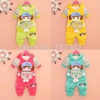 Wholesale 2014 new cotton Baby Girls Kids Hoodie SportsWear Suit Outfit Jogging Suit children Clothes Set