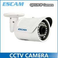 Wholesale ESCAM QD320 IP Bullet Camera H HD720P quot CMOS Night Version mm Lens IP66 Waterproof IR M Onvif P2P White