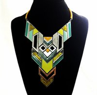 Wholesale statement necklace collar necklace bright color geometry metal necklace retro Jewelry choker necklace vintage necklace lady charms