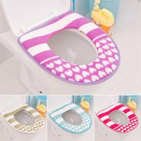 Wholesale Pieces Fashion Style Acrylic Fibre And PU Material Bathroom Warmer Toilet Seat Striped And Heart Toilet Cover WC Seat