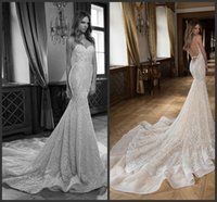 Cheap 2016 Berta Vintage Lace Wedding Dresses Sexy Backless Court Train Sexy Mermaid Spaghetti Beaded Custom Made Plus Size Bridal Gowns