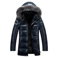 Wholesale HOT sale brand NEW Mens Real Fur Collar Hooded Long Leather Puffer Down Winter Coats Jackets