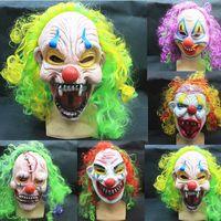 halloween masks clown - Free DHL Halloween clown masks party supply latex full face mask Party masks clown Terror Masquerade Masks with hair