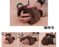 Wholesale Ladies Girls Knitting Fur Winter Gloves Fashion Winter Warmer Fingerless Gloves Knitted Fur Trim Gloves colors mixed sale gqf