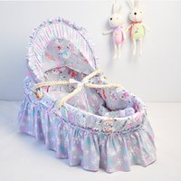 Wholesale 70 CM Newborn Baby Bassinet Cotton Cloth Handmade Corn Bran Woven Cribs For Trip Baby Care Outdoor Basket Colors