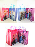 childrens toys and gifts - 20pcs frozen hand bag pvc gift bags small and large cartoon handbag childrens toys receive bag kids girls shopping handbags new