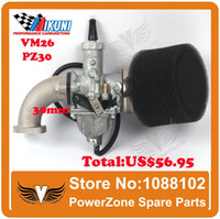 Wholesale MIKUNI Carburetor VM26 PZ30 Kit Mainfold Intake Pipe Air Filter cc cc Dirt Bike BSE IRBIS KAYO Motorcycle Carburetor order lt no tra