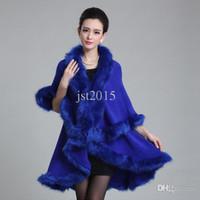 knitting fur scarf - New Fashion Long Wool Cashmere Faux Fox Fur Coat Cardigan Women Poncho Knitted Sweater Women Scarves