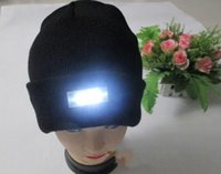 active walking - Black Beanie LED Glowing Knitted Caps with Led Flash Light Novelty Led Hat for Hunting Camping Grilling Jogging Walking