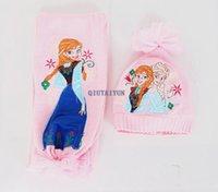 Wholesale Girls christmas gifts Pink frozen scarf hat set frozen scarves cap Anna Elsa Children knit Accessories kids girl Warm Winter Shaw set