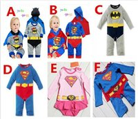 12pcs 6 chico de color batman mamelucos mono de Onesies ropa superhéroe mameluco del superhombre del bebé del mameluco del traje de regalo de navidad Traje