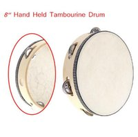 Wholesale Toy Musical Instrument Tambourine quot Hand Held Tambourine Drum Bell Birch Metal Jingles Musical Toy for KTV Party Kid