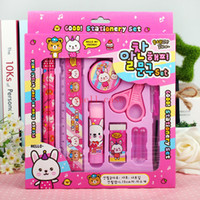ball pen set - Stationery Sets Korea Creative Primary Prize School Supplies Gift Pencils Ball point Pen Pencil Sharpener Scissors Rubber Glue Ruler hot