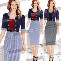 houndstooth dress - Womens Elegant Vintage Colorblock Lapel Button Belted Houndstooth Party Cocktail Prom Sheath Bodycon Dress