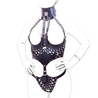 Cheap Women Leather Sex Bondage Toy Body Harnesses Open Boobs Rivet Training Corset with Chastity Belt Fetish Wear Mistress Lingerie