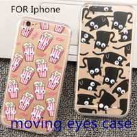 Cheap 3D soft Plastic PTU Case Popcorn Banana Moving Eye Dynamic French fries Catfor Iphone 5 5c 5s 6 6 Plus hight qulity clear