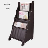 wood display - ladder shape wood leather floor magazine newspaper exhibition display rack shelf organizer holder brown B