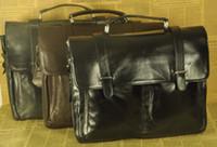 Wholesale Top Grade Mens Real Leather Briefcase messenger Shoulder inch Laptop Bag case handbag tote black brown B5646