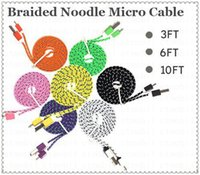 Wholesale 10ft ft FT m m m micro v8 Noodle Flat Braid Fabric usb data cable For Samsung s4 s5 s6 note