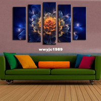 abstract art pieces - 5 piece Wall Paintings Home Decorative Modern Abstract flower Art combination Paintings for Sale No framed