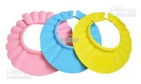 Wholesale Baby Child Kid Shampoo Bath Shower Wash Hair Shield Hat Cap Yellow Pink Blue mix