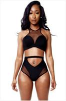 Negro atractivo del bikini Racer 2015 Nueva DesignerTwo piezas de malla remiendo del traje de baño del bikini de la vendimia ahueca hacia fuera el vendaje bikini traje de Tankini BKA072