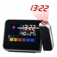 Wholesale New Arrival Projection Alarm Clock With Fashion Digital Weather Thermometer Snooze Function Station LED Light L014165