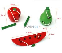 Wooden 5-7 Years Christmas Hot Selling! Learning & Education Baby thread to start work Children Kids Colorful Wooden toy Baby Worm eat Fruit Toys