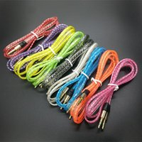 Wholesale 3 mm Flat Braided AUX Audio Crystal Cable Woven Transparent for Iphone M Auxiliary Stereo Jack Male Car Colorful Cord for Speaker MP3