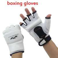 Wholesale Half Finger Sport Boxing Gloves Bandage Boxing Luvas De Boxe Muay Thai Man PU M XL Black White Red Muay Thai MMA Luva De Boxe Boxe