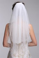 Wholesale Real Images Cathedral Wedding Veils Longing For Bridal Two Layer White Ivory Velos De Novia Short Tulle With Pearl Beaded Wedding Veil