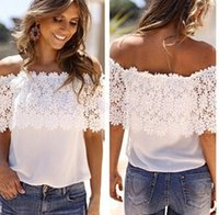 off the shoulder tops - 2015 Europe Lace Off The Shoulder Women Blouse Lace Crochet Girls Tank Top Casual White Chiffon Shirt Hot Sale S XL Free CW14233