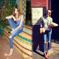 alexa chung - The new Alexa Chung for AG Jeans blue water holes show thin buttock skinny Jeans pencil pants