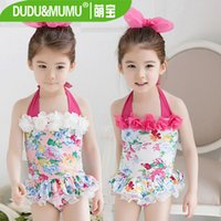Cheap Summer girls bathing suit Condole belt and short skirt children one-piece swimsuit sweet printing with flowers kids swimwear 90-140 ab603