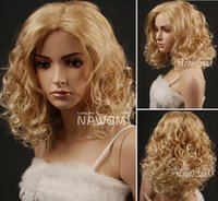 Synthetic hair 18  Cheap Wigs 2 colors in Stock! New Style elsa wig Medium Length Fluffy Curly Wigs Synthetic Of Kanekalon Fiber Wig Blonde,Auburn