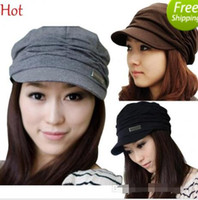 Wholesale 2015 Quallity Fashion Womens Hat Girls Cap Travel Pleated Hat Autumn Spring Sun Hat Korean Cap Chapeau Black Coffee Grey Hot Sale BY0000