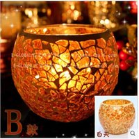 lighted cup holder - Christmas gift mosaic glass candle holders dinner candle light the wedding candle cup furnishing articles wedding gift
